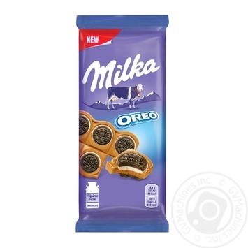 Шоколад Milka молочный с круглым печеньем Оrео с начинкой со вкусом ванили 92г - купить, цены на Novus - фото 1