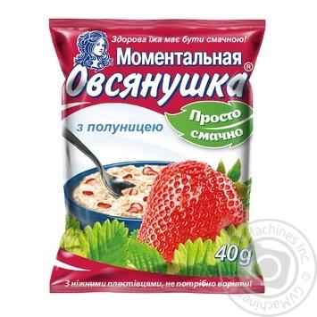Каша вівсяна Вівсянушка з полуницею та цукром 40г - купити, ціни на МегаМаркет - фото 1