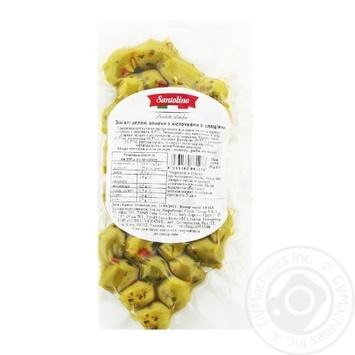 Оливки Santolino зеленые смятые со специями 150г