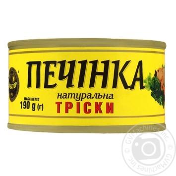 Печень трески Экватор натуральная 190г - купить, цены на Novus - фото 1