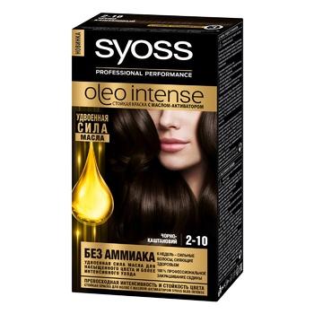 Краска для волос без аммиака SYOSS Oleo Intense 2-10 Черно-каштановый 115мл