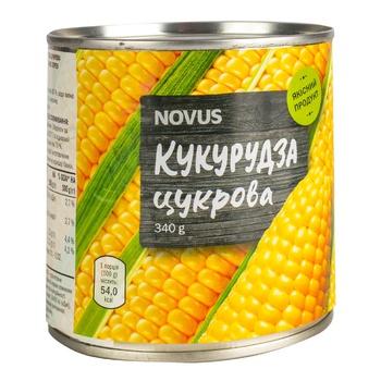 Кукуруза сахарная Novus стерилизованная консервированная ж/б 340г - купить, цены на Novus - фото 1