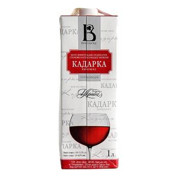 Вино червоне Вінлюкс Кадарка виноградне ординарне столове напівсолодке 12% тетрапакет 1000мл Україна - купити, ціни на Novus - фото 1