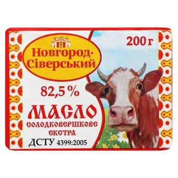 Масло Новгород-Сіверський солодковершкове екста 82,5% 200г - купити, ціни на Novus - фото 1