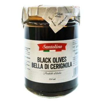 Оливки черные Santolino Bella di Cerignola с косточкой 314мл