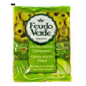Оливки зелені Feudo Verde без кісточки 170г - купити, ціни на Novus - фото 1