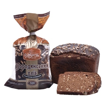 Хліб Бородинський Рум'янець з насінням соняшника порізаний 500г - купити, ціни на Метро - фото 1