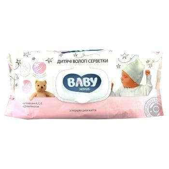 Серветки вологі Novus Baby дитячі алое та ромашка з вітамінами А, С, Е та Д-пантенолом 100шт