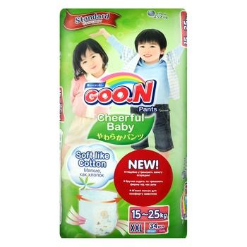Підгузники-трусики GOO.N Cheerful Baby розмір XXL унісекс для дітей 15-25кг 34шт - купити, ціни на Ашан - фото 2