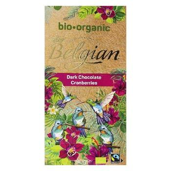 Шоколад Belgian Organic черный с клюквой 90г