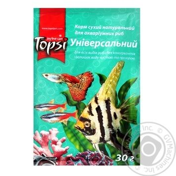 Корм сухий натуральний Topsi для акваріумних риб Універсальний 30г - купити, ціни на Novus - фото 1