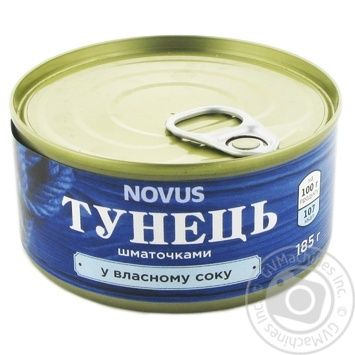 Novus In Own Juice Tuna Pieces 185g - buy, prices for Novus - image 1