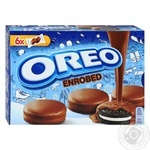 Печиво Oreo Enrobed з какао та начинкою з ванільним смаком у шоколадній глазурі 246г