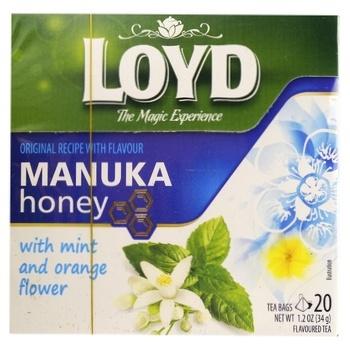 Чай зеленый Loyd Манука с мятой, цветами апельсина и ароматом меда 1,7г*20шт - купить, цены на Novus - фото 1