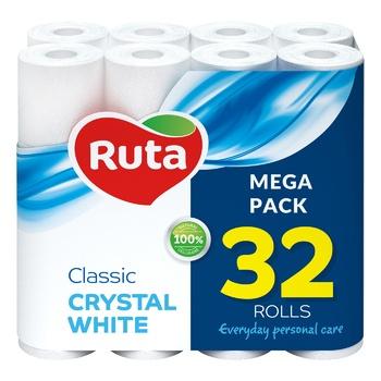 Папір туалетний Ruta Classic білий двошаровий 32 рулони