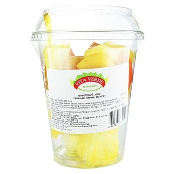 Фруктовый микс ананас, хурма, манго Vita Verde свежие порезанные 200г - купить, цены на Ашан - фото 1