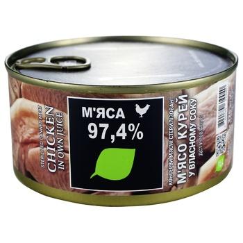 Мясо курей Zdorovo коонсервированное в собственном соку 325г