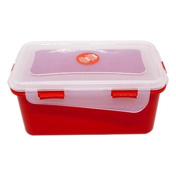 Контейнер Алеана Фиеста универсальный прямоугольный красно-бархатный прозрачный 0,65л