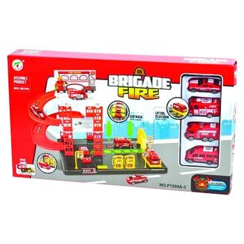 Игровой набор Парковка Пожарная станция 4 машинки P1204A-3