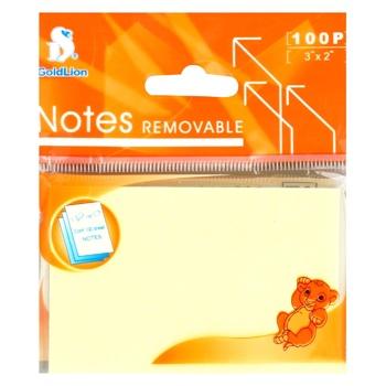 Стикеры Goldlion желтые 100 листов 76x51мм - купить, цены на Novus - фото 1