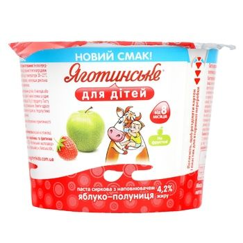 Yahotynske Strawberry-Apple Flavored Cottage Cheese for Babies from 8 Months 4,2% 100g