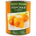 Персики Happy Farmer половинки в сиропе 820г