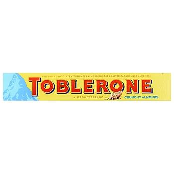 Шоколад Toblerone молочный с соленым карамелизированным миндалем и медово-миндальной нугой 100г - купить, цены на Метро - фото 1