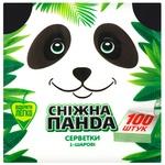 Салфетки Снежная Панда однослойные 33x33см 100шт