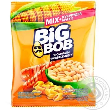 Микс арахиса жареного соленого и кукурузы жареной Big Bob со вкусом Колбаски BBQ 70г - купить, цены на СитиМаркет - фото 1