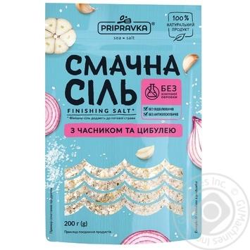 Вкусная соль Приправка морская с чесноком и луком 200г - купить, цены на МегаМаркет - фото 1