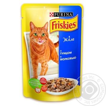 Скидка на Корм Friskies С тунцом и морковью в желе для взрослых котов 100г