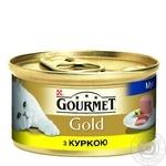 Корм GOURMET Gold Мусс С курицей для взрослых кошек 85г