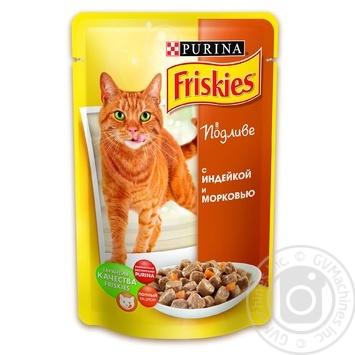 Скидка на Корм Friskies С индейкой и морковью в подливке для взрослых котов 100г