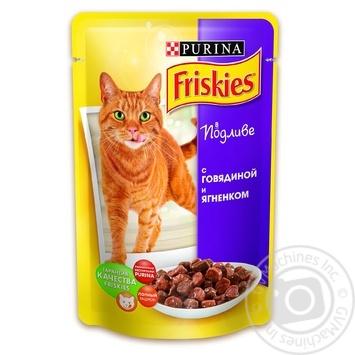 Скидка на Корм Friskies С говядиной и ягненком в подливке для взрослых котов 100г