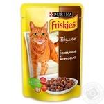 Корм Friskies С говядиной и морковью в подливке для взрослых котов 100г