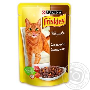 Скидка на Корм Friskies С говядиной и морковью в подливке для взрослых котов 100г