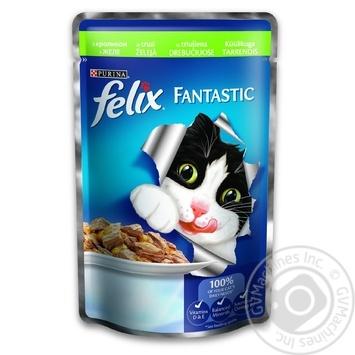 Скидка на Корм Felix Fantastic С кроликом в желе для взрослых котов 100г