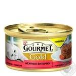 Корм GOURMET Gold Нежные биточки С говядиной и томатами для взрослых кошек 85г