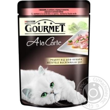 Скидка на Корм GOURMET A la Carte С лососем в подливке со шпинатом кабачками и зелеными бобами для взрослых кошек 85г