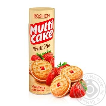 Печенье Roshen Multicake сахарное c начинкой клубника-крем 195г - купить, цены на Фуршет - фото 1