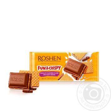 Скидка на Шоколад Roshen молочный с шоколадной начинкой и вафлей 105г