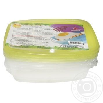 Plasttorg Food container rectangular set 3pcs 1l