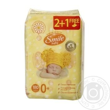 Салфетки влажные Smile Baby Экстракт ромашки и алоэ мультипак 180шт - купить, цены на Фуршет - фото 2