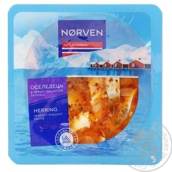 Оселедець Norven в пряно-пікантній заливці 170г - купити, ціни на МегаМаркет - фото 1