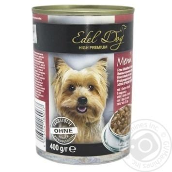 Консерва д\собак EDEL DOG три види м`яса 0,4кг