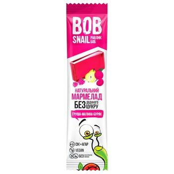 Мармелад Bob Snail фруктово-овощной Груша-Малина-Свекла без сахара 38г - купить, цены на Ашан - фото 1