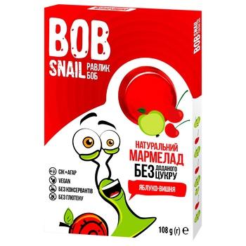 Мармелад Bob Snail яблоко-вишня без сахара 108г - купить, цены на Ашан - фото 1