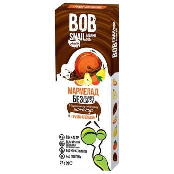 Мармелад Bob Snail груша-апельсин в молочном шоколаде без сахара 27г