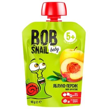 Пюре Snail Bob яблоко-персик детское 90г