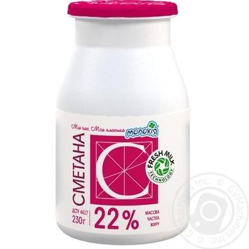 Сметана Молокия Молочная классика нетермизированная 22% 230г пластиковая бутылка Украина